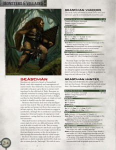 Beastman Monster Entry page 1